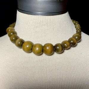 Vintage Teak Wood Tiki Chunky Bead Choker Necklace